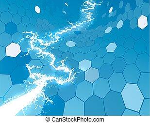 hexagone, électrique, fond, rayon miel