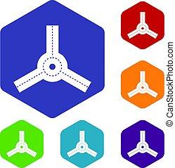 hexagone, ensemble, détourné, icônes