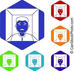 hexagone, ensemble, homme, icônes