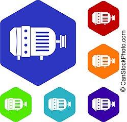 hexagone, ensemble, moteur électrique, icônes