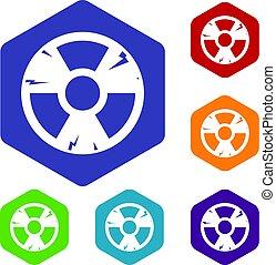 hexagone, ensemble, radiation, signe, icônes