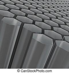 hexagone, noir, composition, moitié transparent