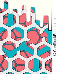 hexagone, vecteur, fond, coloré, résumé