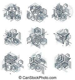 hexagones, isométrique, elements., collection., résumé, différent, carrés, dispositions, vecteur, backgrounds., cubes, rectangles, 3d