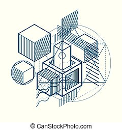 hexagones, isométrique, elements., résumé, shapes., lignes, différent, carrés, vecteur, fond, cubes, rectangles