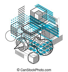 hexagones, isométrique, fait, illustration., elements., résumé, différent, carrés, lignes, vecteur, fond, cubes, rectangles, gabarit