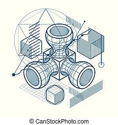 hexagones, isométrique, fait, illustration., elements., ...