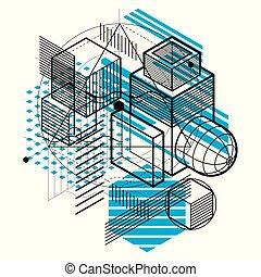 hexagones, isométrique, linéaire, elements., résumé, différent, carrés, fond, vecteur, cubes, abstraction., revêtu, rectangles