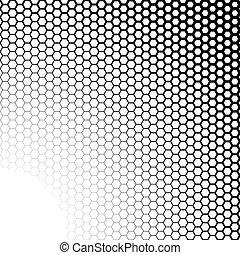 hexagones, noir, fond blanc, gradient