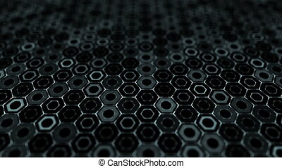 Hexagons network. Abstract green background of dark green pulsing hexagons in a honeycomb mesh. Suitable for technology themes or music and dance visuals.