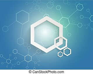 Hexagons on blue background technology concept