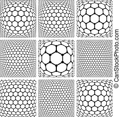 Hexagons patterns. Abstract geometric backgrounds set.