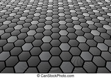 Hexagons tiled textured surface. Perspective view.