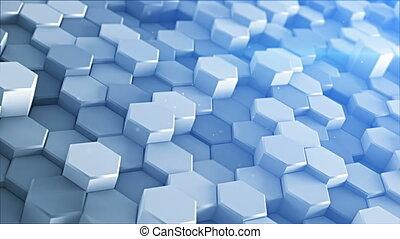 Hexagons waving 3D render loopable animation - Waving...