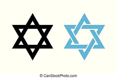 Hexagram David Star - black and blue icon of Israel holy...