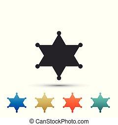 Hexagram sheriff icon isolated on white background. Set...