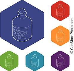 hexahedron, vecteur, bouteille, éthanol, icônes