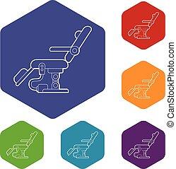 hexahedron, vecteur, chaise dentaire, icônes