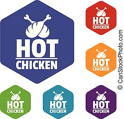 hexahedron, vecteur, chaud, poulet, icônes