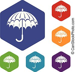 hexahedron, vecteur, parapluie, ouvert, icônes