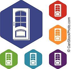 hexahedron, vecteur, porte, icônes bureau