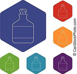 hexahedron, vector, botella, etanol, iconos
