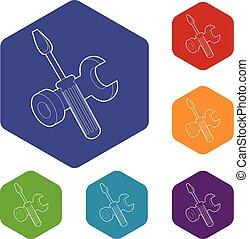 hexahedron, vektor, sofőr, csavar, ikonok