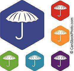 hexahedron, vetorial, guarda-chuva, proteção, ícones