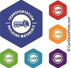 hexahedron, vetorial, transporte, serviço, ícones