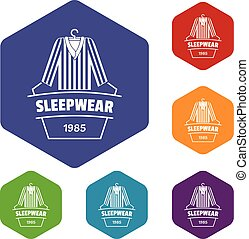 hexahedron, vettore, sleepwear, icone