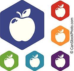 hexahedron, wektor, jabłko, ikony