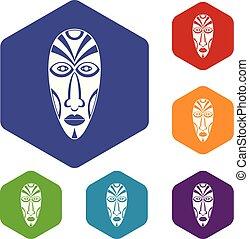 hexahedron, wektor, maska, afrykanin, ikony
