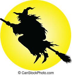 hexe, fliegen, vektor, silhouetten