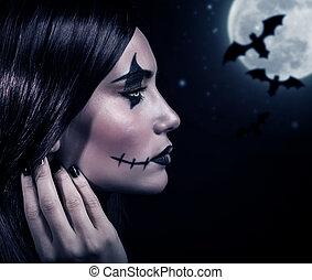 hexe, halloween, terrifying, nacht