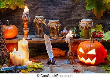 hexe, tisch, mit, halloweenkuerbis