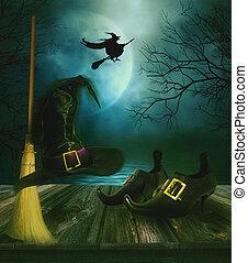 hexen, besen, hut, und, schuhe, mit, halloween, hintergrund