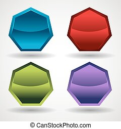 Hexygon Button Icon Set