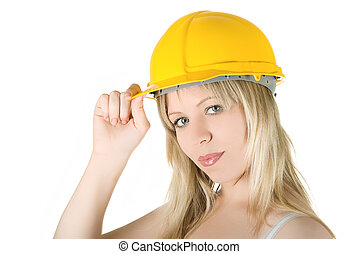 pretty woman in yellow building helmet isolated on white
