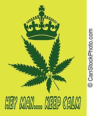 Keep Calm crown poster with yellow background