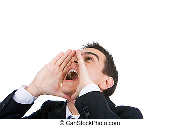 Photo of shouting man with his palms open by mouth looking upwards on white bvackground