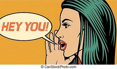 hey, usted, -, vector, ilustración, de, mujer hermosa, vocación, alguien, (shouting, loud), en, arte pop, estilo
