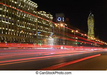 Heydar Aliyev Avenue in the evening. Baku, Azerbaijan