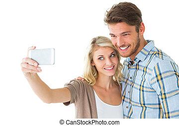hezký, dvojice, dobytí, jeden, selfie, dohromady