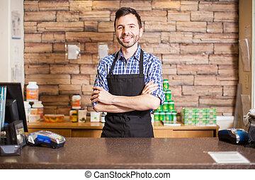 hezký, mužský, pokladní, do, jeden, grocery store