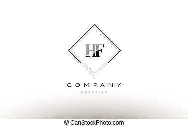 Hf H F White Letter Logo Design With Black Square Hf H F White
