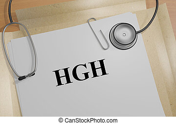 3D illustration of 'HGH' title on a document