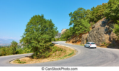 Hghway with hairpin bend in Meteora in Greece