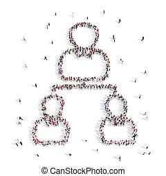 hiérarchie, marche, .3d, illustration., gens