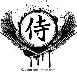 hiéroglyphe, samouraï, épées, samouraï, traversé, ailes