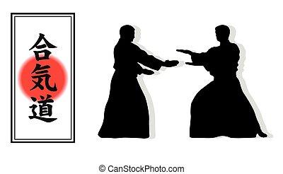 hiëroglief, van, aikido, en, twee, besighouden